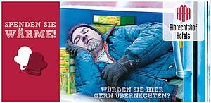 Obdachloser Mann schläft im Kühlschrank - Grafik zum Spendenprojekt Kältehilfe der Berliner Stadtmission