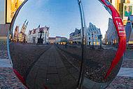 Weltkugel auf dem Wittenberger Marktplatz